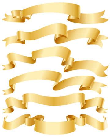 Goud linten set Vector Illustratie