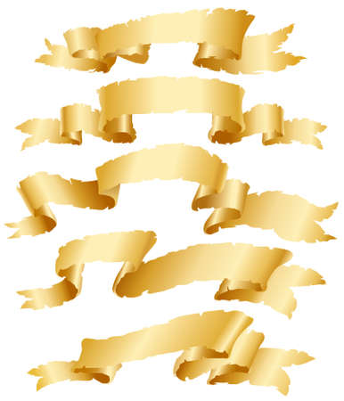 Gold vintage banners set Vector