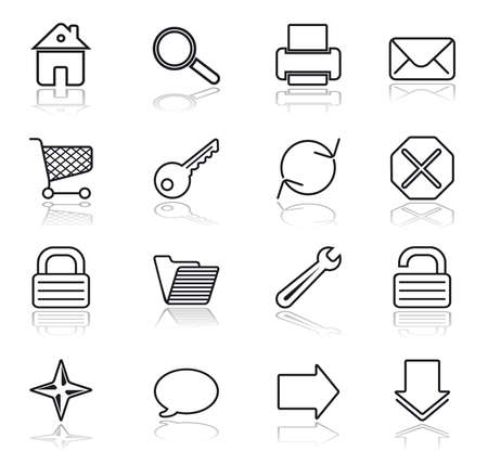 Black on white. Web basic icon set. Vector