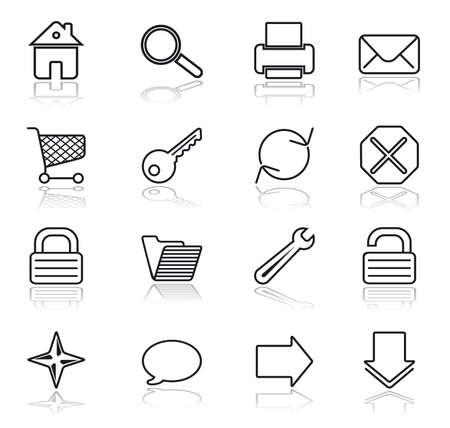 shortcuts: Black on white. Web basic icon set. Illustration