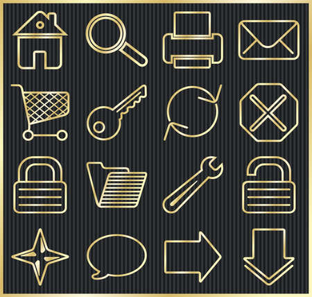 Gold on black. Web basic icon set. Vector