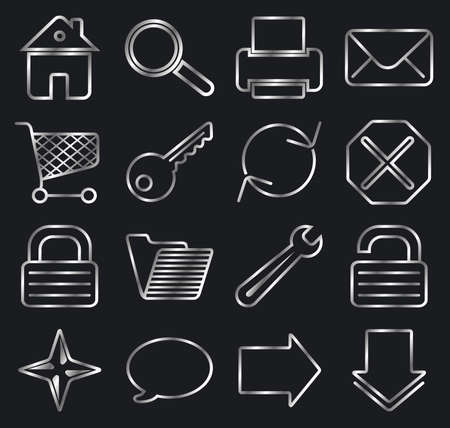 Silver on black. Web basic icon set. Vector