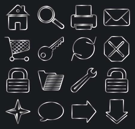 Silver on black. Web basic icon set. Stock Vector - 3181604