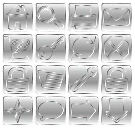 Silver web basic icon set. Stock Vector - 3181608