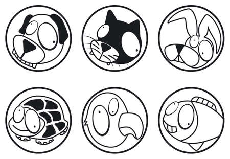 pets icons b&w Stock Vector - 3187348