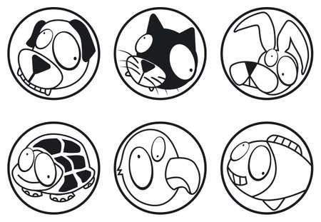 bw: pets icons b&w Illustration