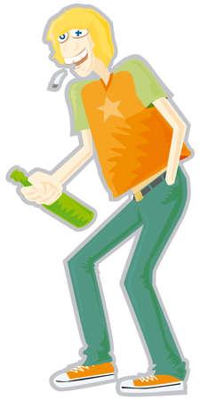 straw hat: Party man 1 Illustration