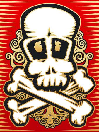 Skull red gold Illustration
