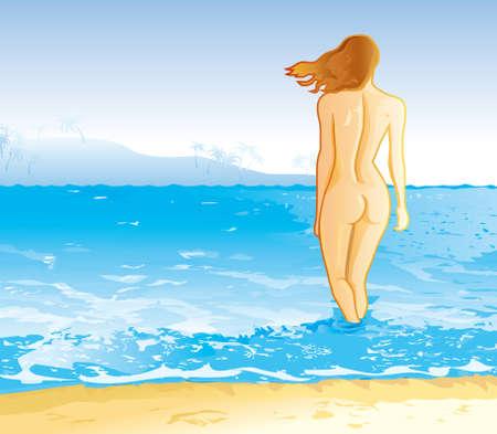 ni�a desnuda: La isla de oro de la arena  Vectores