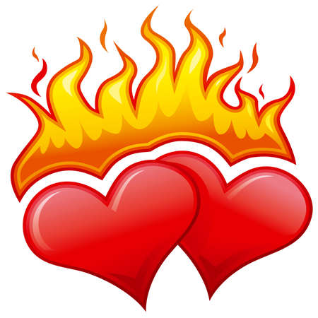 red love heart with flames: Corazones ardientes  Vectores