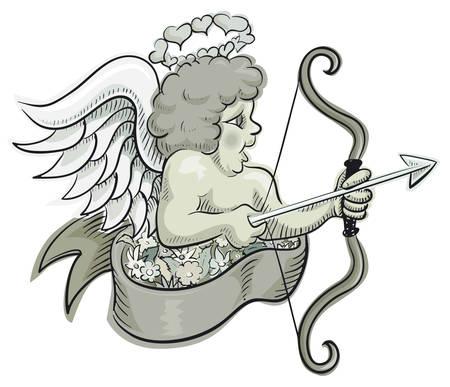 Cupid gray Vector