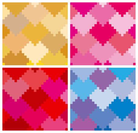 Hearts pattern in 4 variation Vector