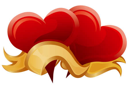 Two hearts & gold ribbon