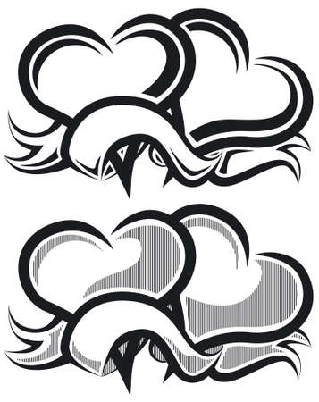 Two hearts b&w Vector