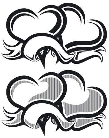 Two hearts b&w Illustration