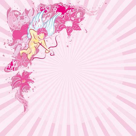 Valentines pink corner Vector