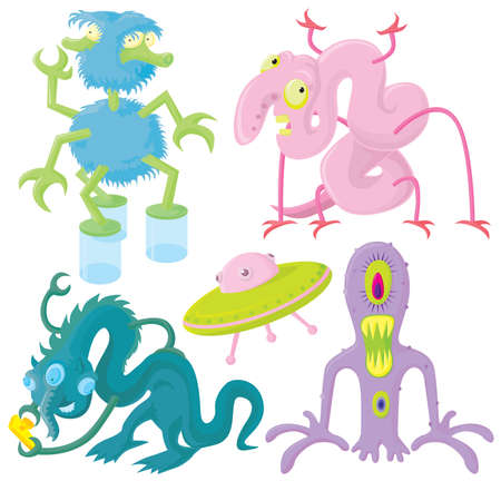 Funny aliens set Vector