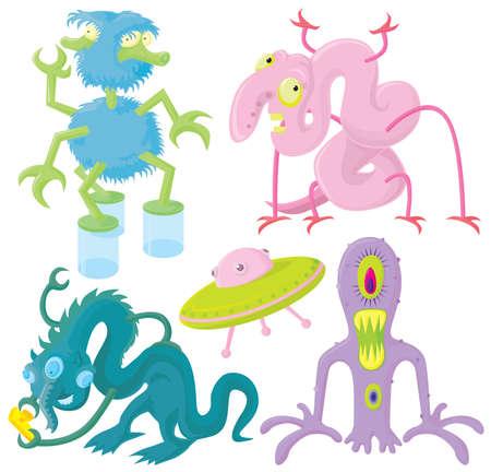 Funny aliens set Vector