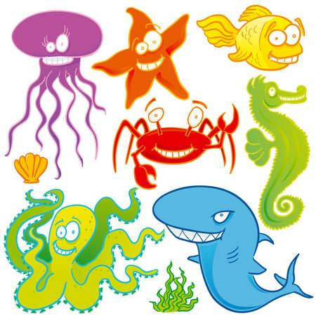 Sea animals set Stock Vector - 3289354