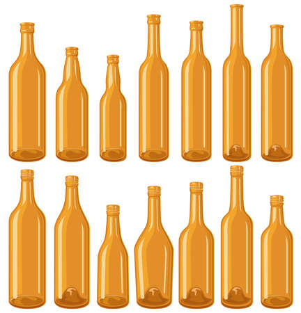 liquor: Brown bottle set Illustration