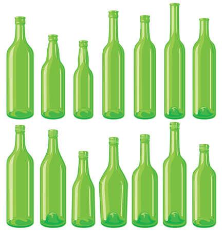 Green bottle set Vector