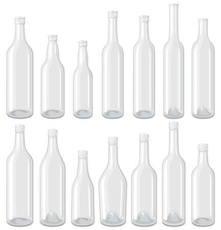 liquor: White bottle set Illustration