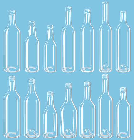 Transparent bottle set Vector