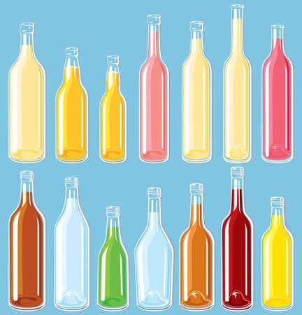 Filled bottle set Vector