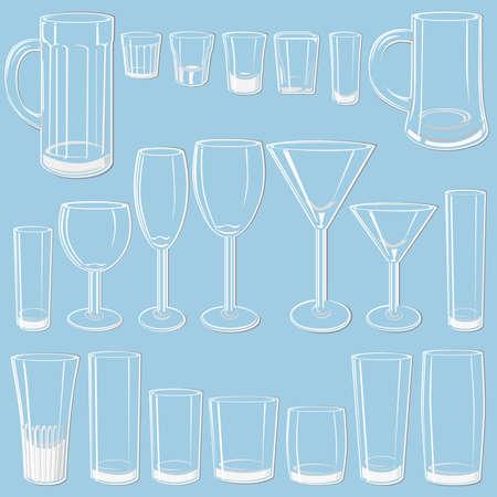likeur: Transparant glazen set  Stock Illustratie