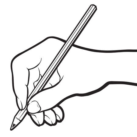 Hand with pencil b&w Vector