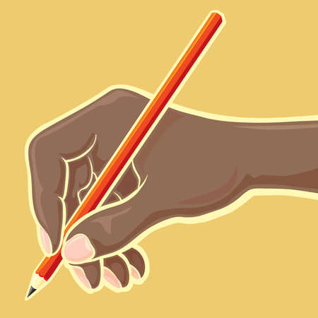 Hand with red pencil Vector