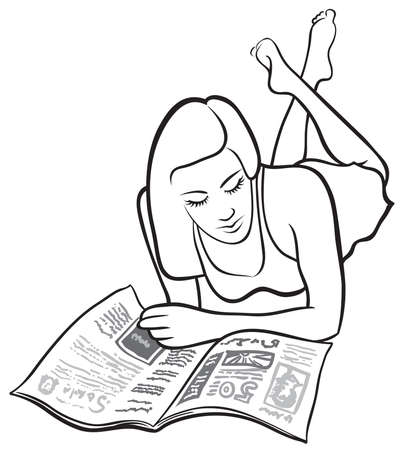 reading news: Girl reading Illustration