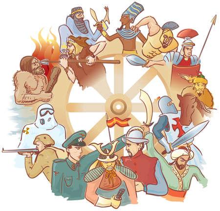 conflictos sociales: Rueda de la historia  Vectores