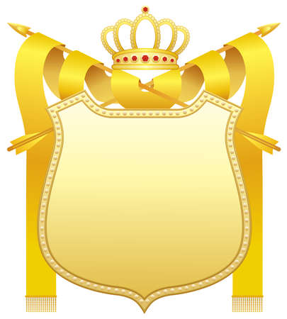 yellow crown: Gold shield Illustration