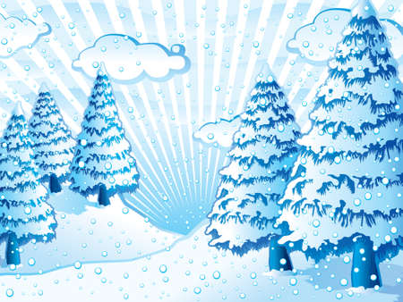 Harmonic blue winter scene Vector