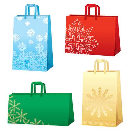 Xmas bags - snowflakes set Vector