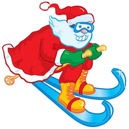 Ski Santa Stock Vector - 3498631