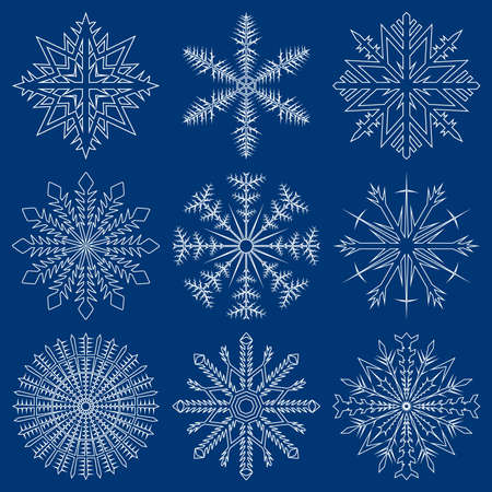 Snowflake outlined set Stock Vector - 3498755