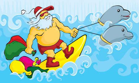 surf vector: Surfing Santa