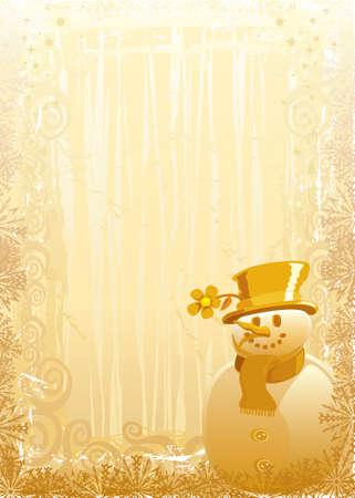 Gold Snowman Stock Vector - 3498785
