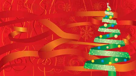 Christmas ribbon tree Stock Vector - 3583129