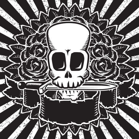 Skull & roses b&w Vector