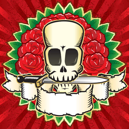terrifying: Skull & roses Illustration
