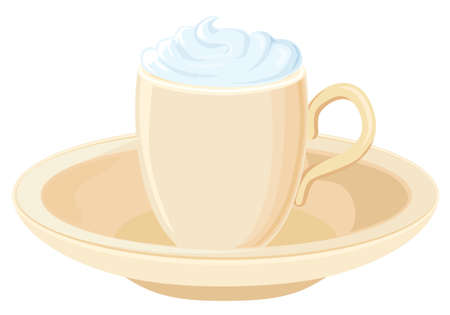 Coffee with whipped cream Vector