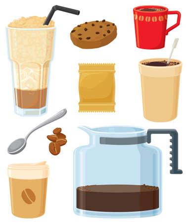 Big coffee set - American style. Vector