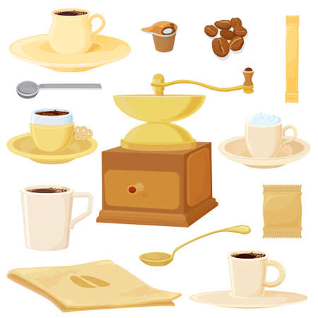 Big coffee set. All in separated layers. Vector