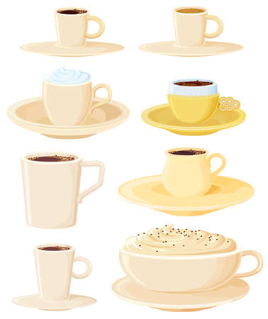 8 coffee pots. All in separated layers Illustration