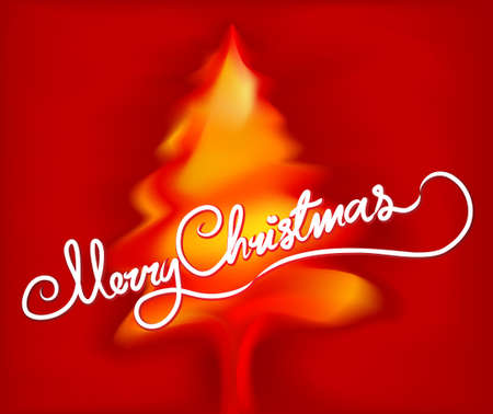 merry christmas text: Xmas tree with Merry Christmas text Illustration