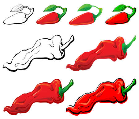 Jalapeno & Red Pepper set. Each in separated layer. Stock Vector - 3772074