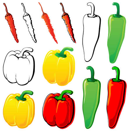 hot peppers: Peppers set. Each in separated layer. Illustration